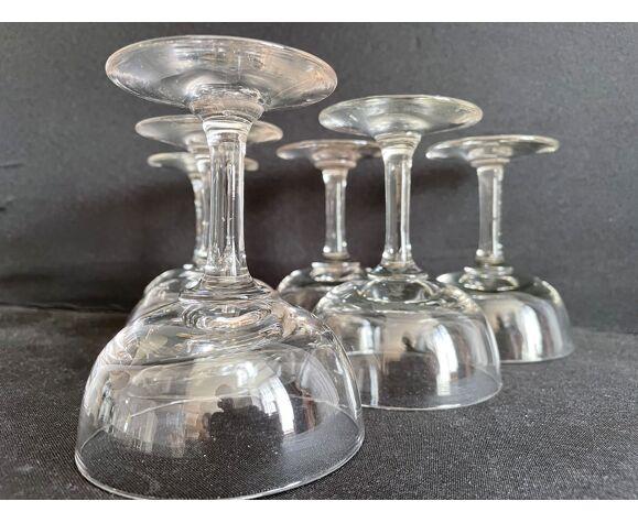 Lot de 6 coupes à champagne, Napoléon III, 1/2 cristal soufflé et taillé