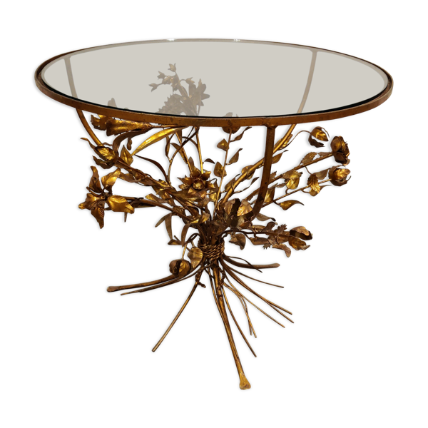 Table fleur de métal doré vintage, Italie années 60