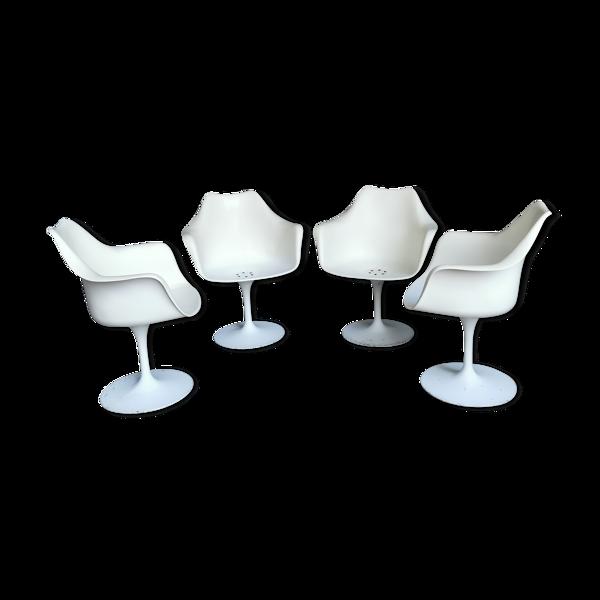 Selency Serie de 4 fauteuils tulipe pivotant