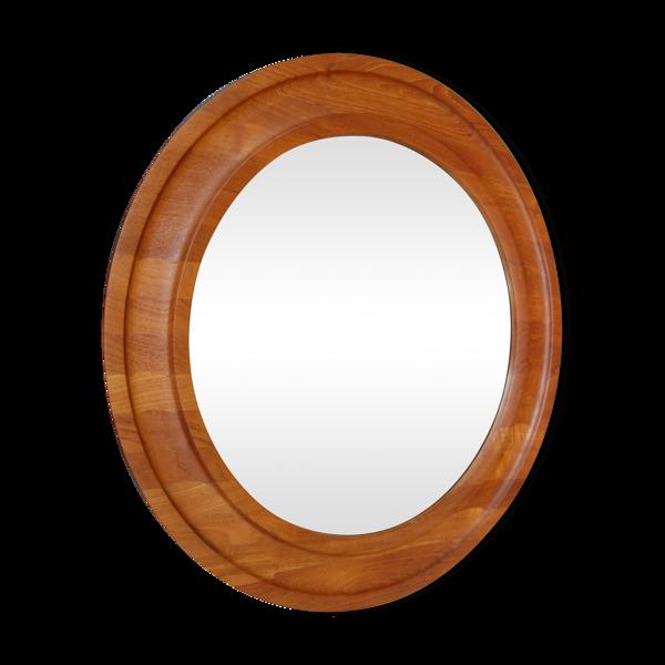 Miroir rond en teck par Hadsten Danemark 74cm