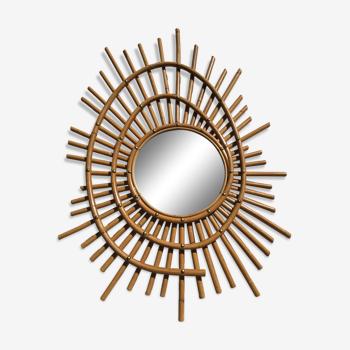 Miroir rotin soleil spirale vintage 61cm