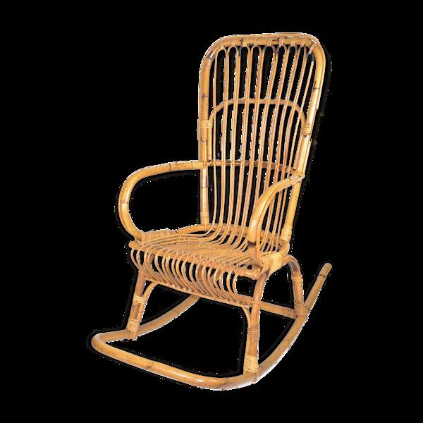 Rocking-chair en rotin Danemark années 1970 style scandinave