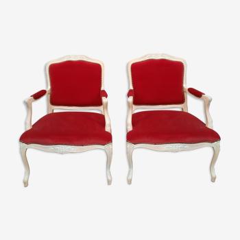 Paire de fauteuils laqué style Louis XV