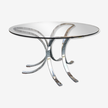 round coffee table grey smoked glass and chrome steel, vintage, 60s