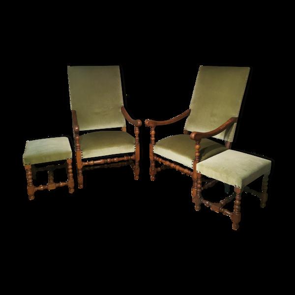 Lot fauteuils et repose pieds style Louis XIII