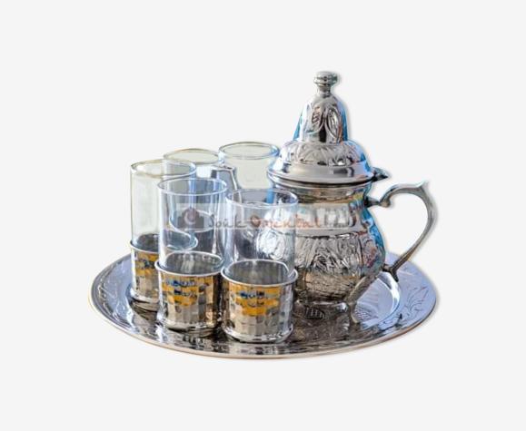 Copper and glass tea set