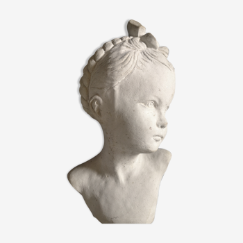 Bust girl in patinated terracotta