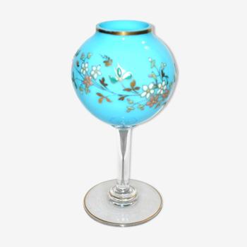 Vase boule sur pied - Lampe à huile vintage en opaline turquoise décoré à froid