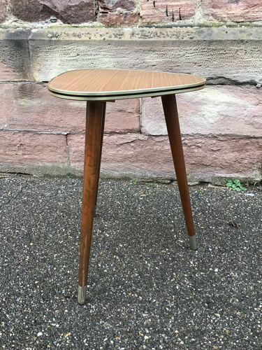 Table basse mid century cocktail française vintage design 1960 piétement tripode scandinave