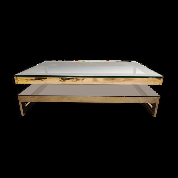 Selency Table basse Belgochrom 23kt vintage à deux niveaux années 1970
