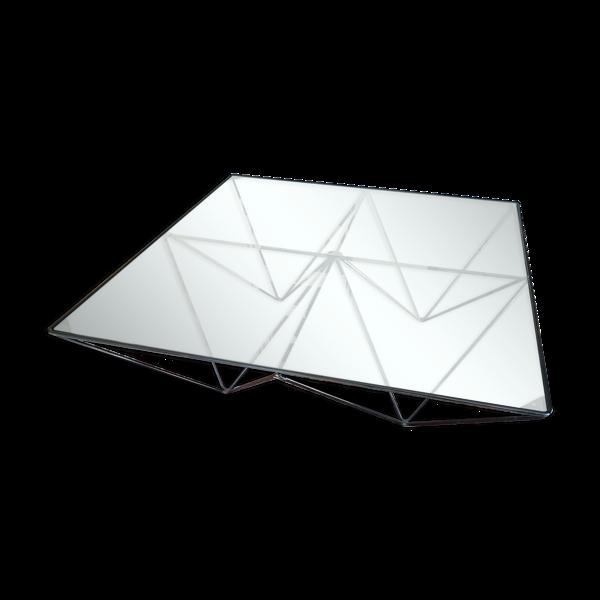 Selency Table basse carré métal noir verre