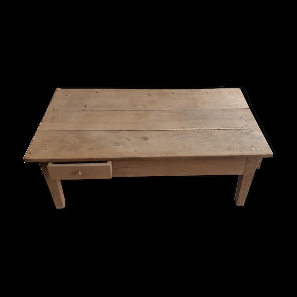 Selency Table basse en bois chêne brut