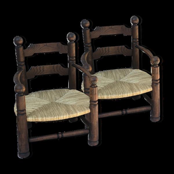 Paire de fauteuils en chêne et paille 1940