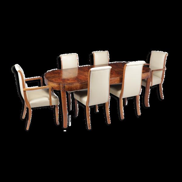 Selency Ensemble de table et chaises art déco 1930