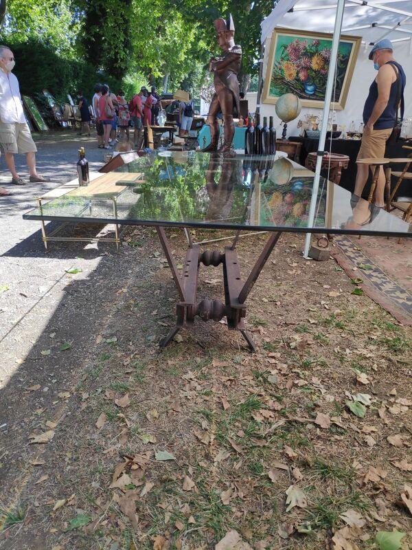 Table industrielle fer et verre 200 x 900 cm