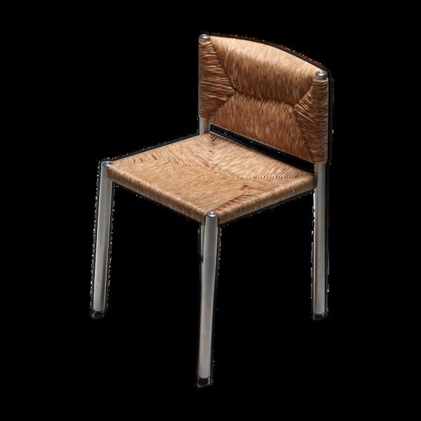 Selency Chaise moderne rustique contemporaine en jonc de mer et aluminium 1980