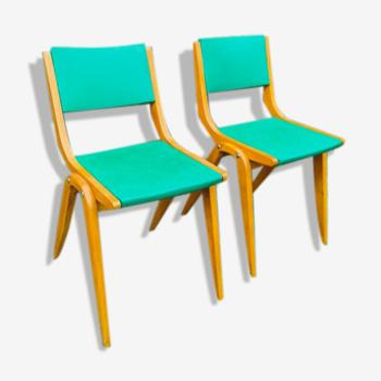 Paire de chaises pieds compas 1960