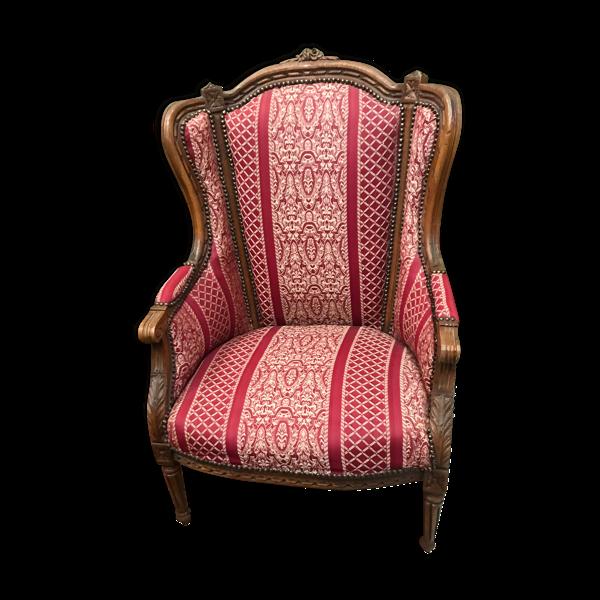 Fauteuil bergère à oreille style Louis XVI