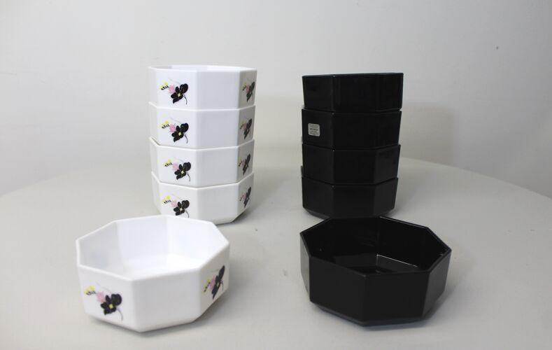 Lot de 10 bols Arcoroc noir et blanc Hexagonaux