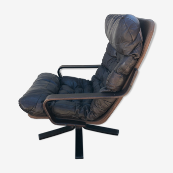 Fauteuil lounge cuir vintage Années 60