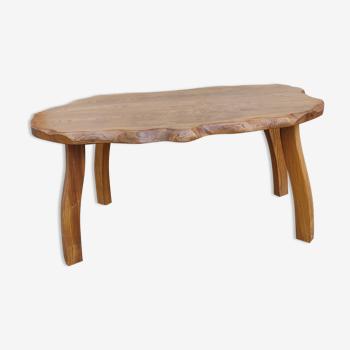 Ancienne table basse brutaliste en orme/design du 20 ème siècle