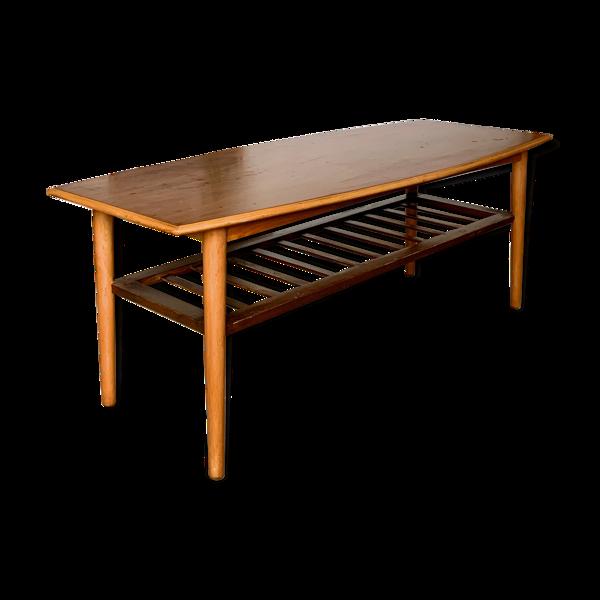 Table basse teck avec porte-revue style scandinave vintage