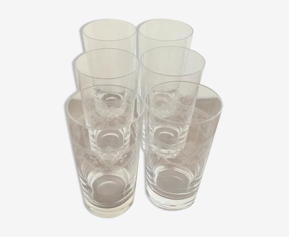 6 verres anciens gravés