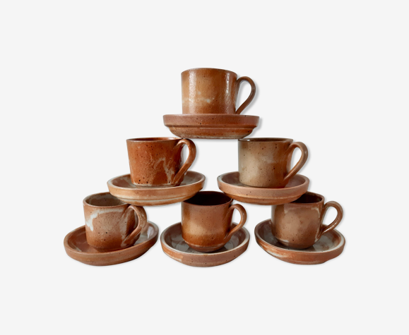 Lot de 6 tasses à café en grès avec soucoupe