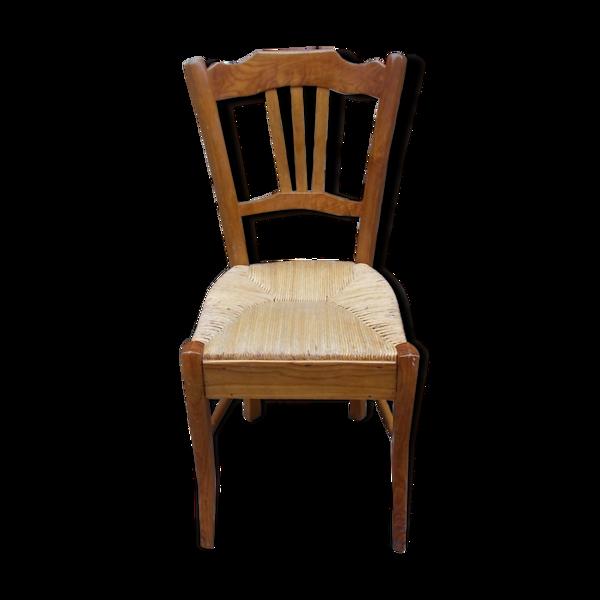 Chaise paillée en acacia