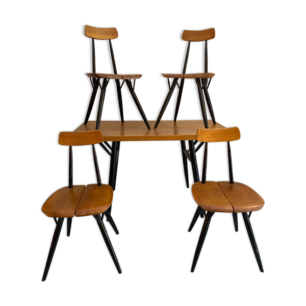 Selency Ensemble table  avec chaises «Pirkka» de Ilmari Tapiovaara