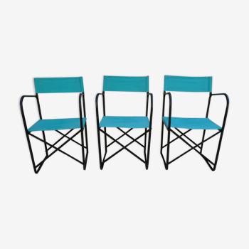Ensemble de 3 chaises pliantes en métal noir et tissu vert, années 60