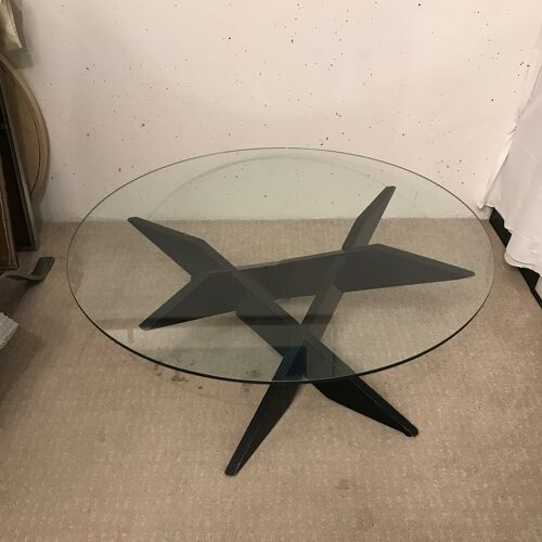 Table basse brutaliste géométrique 1970