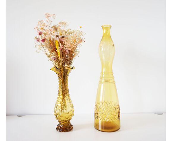 "Carafe italienne en verre ""visage"" 1960"
