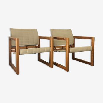Paire de fauteuils Safari de Karin Mobring pour Ikea avec table d'appoint | pin et toile