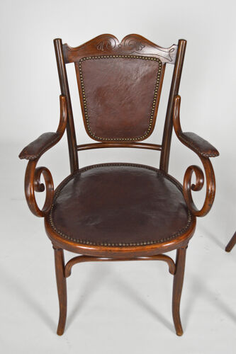 Salon art nouveau fischel in curved wood and leather, 7 seats, circa 1910