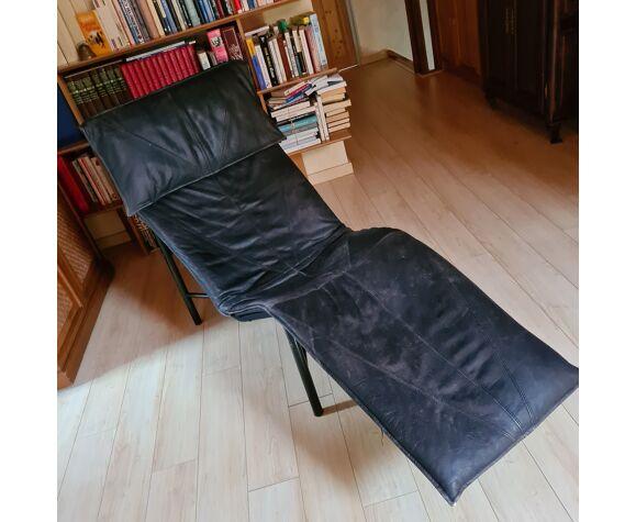 Chaise longue vintage en cuir noir design par Tord-Björklund pour Ikea