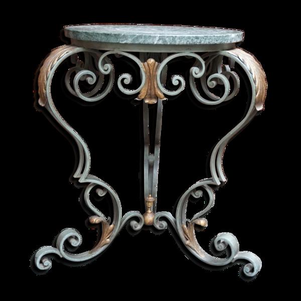 Console avec plateau en marbre en fer forgé