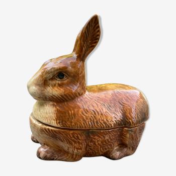 Plat à terrine trompe l'oeil en forme de lapin - Faience Barbotine