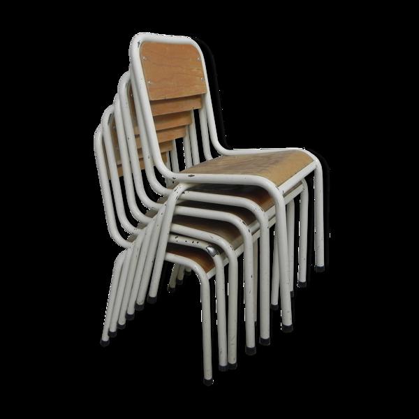 Selency Lot de 6 chaises d'école