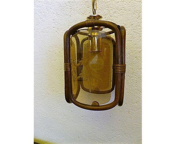 Suspension rotin vintage 60
