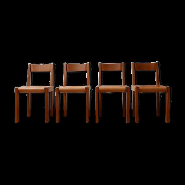 Lot de 4 chaises S24 de Pierre Chapo