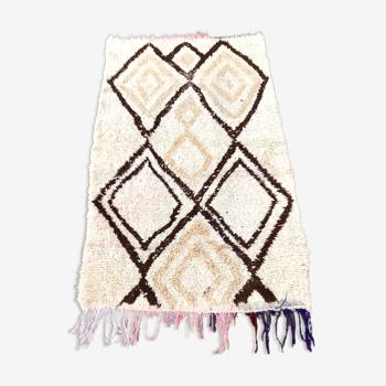 Tapis Beni Ouarain vintage en laine fait main 95x160 cm