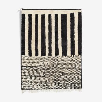Tapis marocain moderne blanc art contemporain 300x370cm