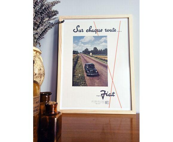 Affiche vintage années 50 -imprimé publicitaire - fiat - 30x40cm
