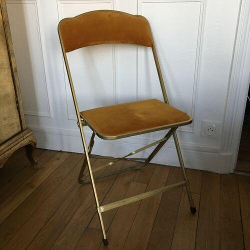 Chaise pliante velours safran