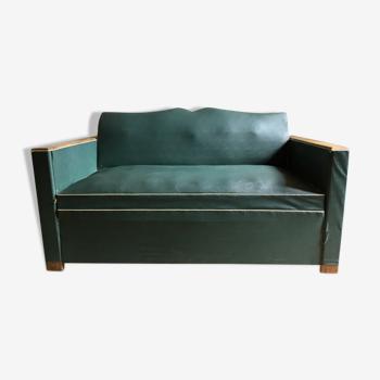 Canapé lit années 60 en skai