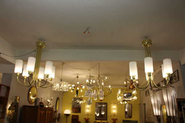 Pair Of Brass Ceiling Lights, Italy