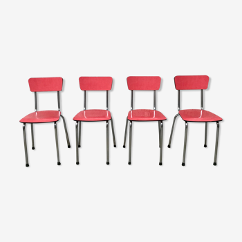 Série de 4 chaises en formica rouge et chrome 1950