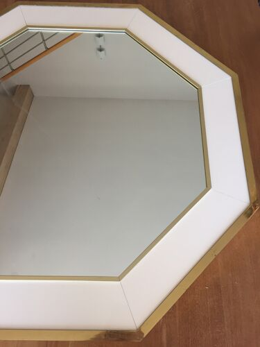 Miroir octogonal blanc et doré vintage 75x75cm