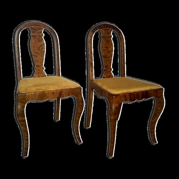 Selency Set of Two Swedish Satin Birch Chairs, 1910s
